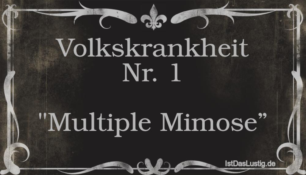"Lustiger BilderSpruch - Volkskrankheit Nr. 1  ""Multiple Mimose"""