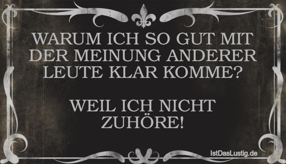 Lustiger BilderSpruch - WARUM ICH SO GUT MIT DER MEINUNG ANDERER LEUTE...