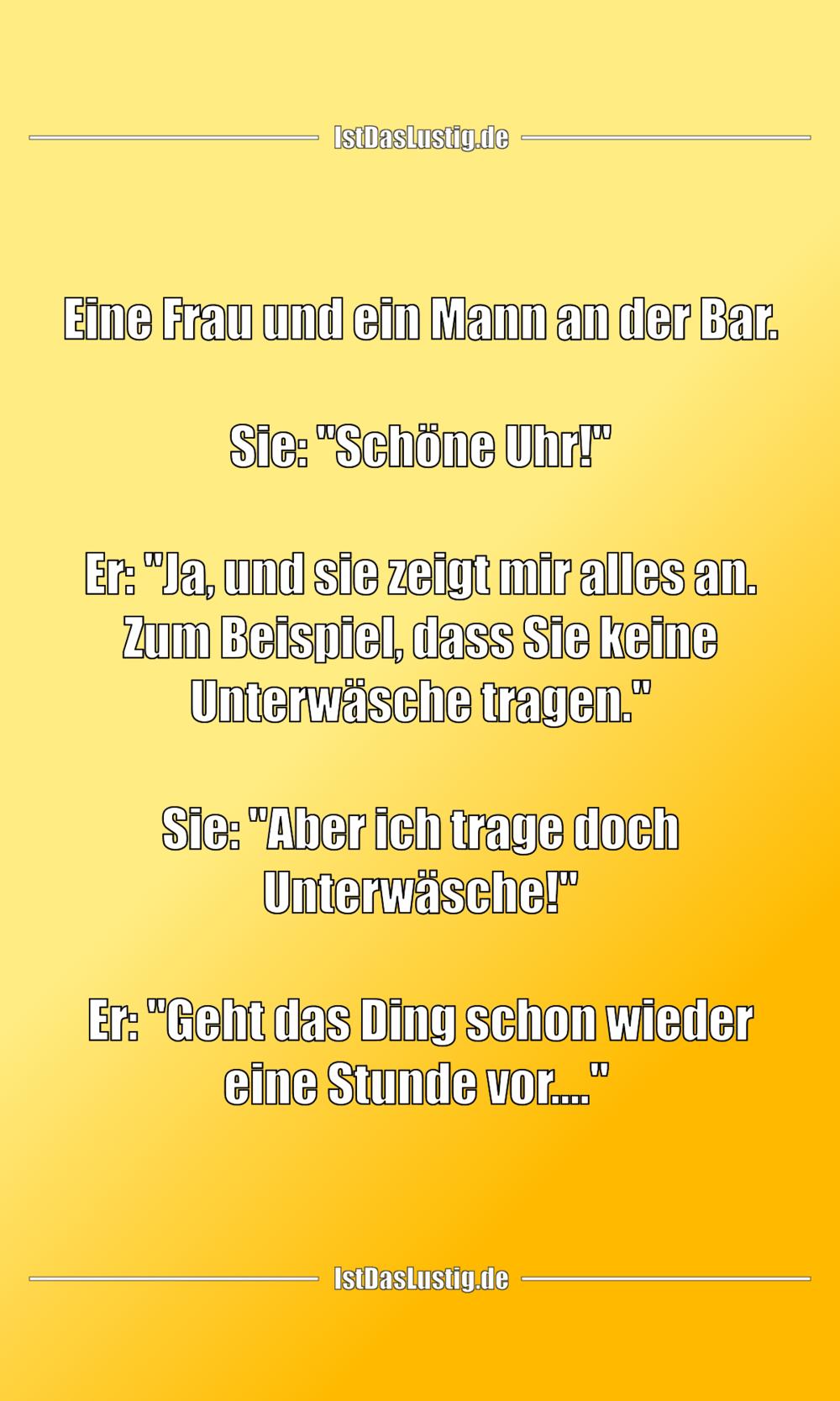 Lustiger BilderSpruch -  Eine Frau und ein Mann an der Bar.  Sie:...