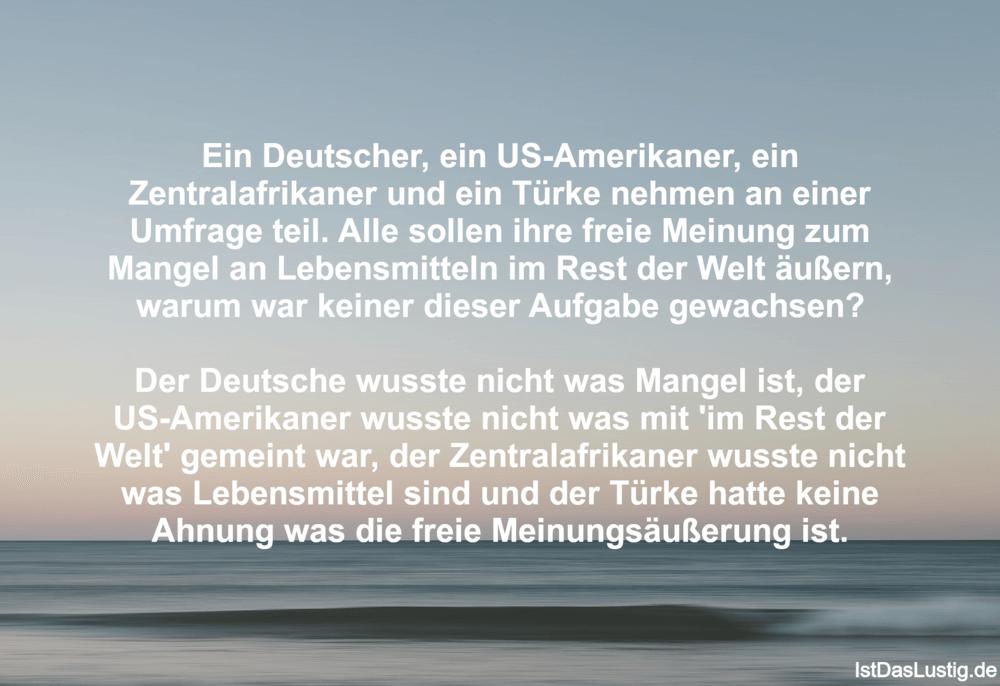 Lustiger BilderSpruch - Ein Deutscher, ein US-Amerikaner, ein...