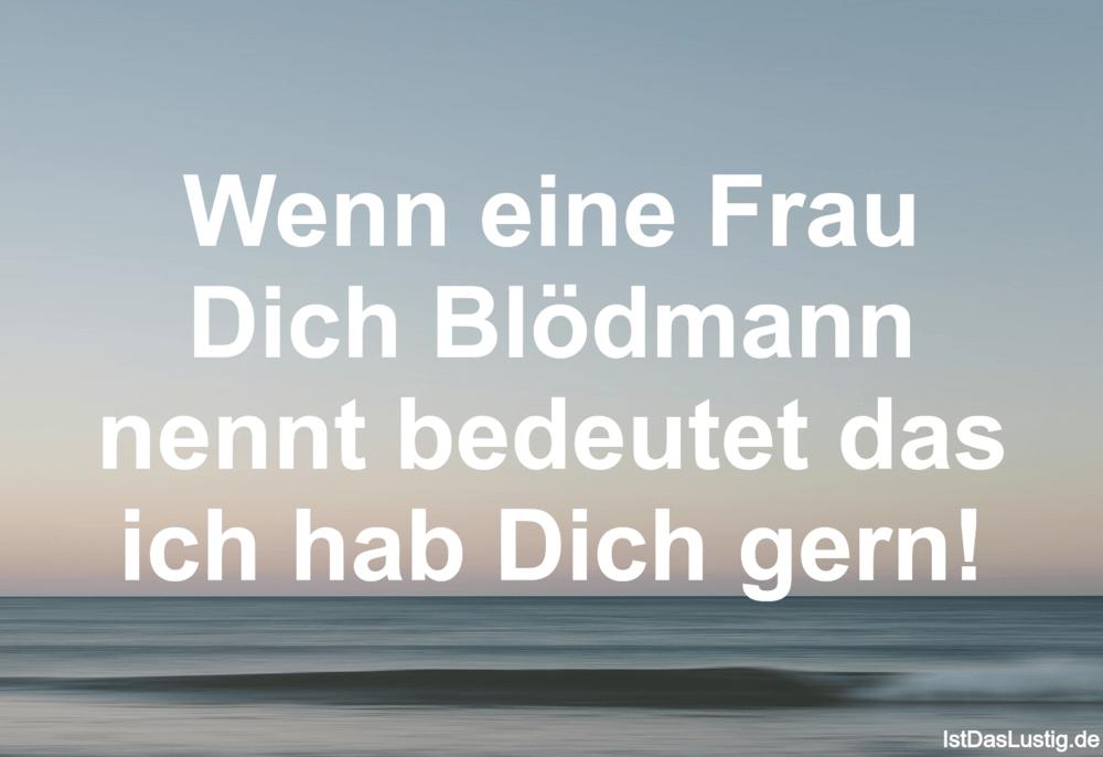 Lustiger BilderSpruch - Wenn eine Frau Dich Blödmann nennt bedeutet das...