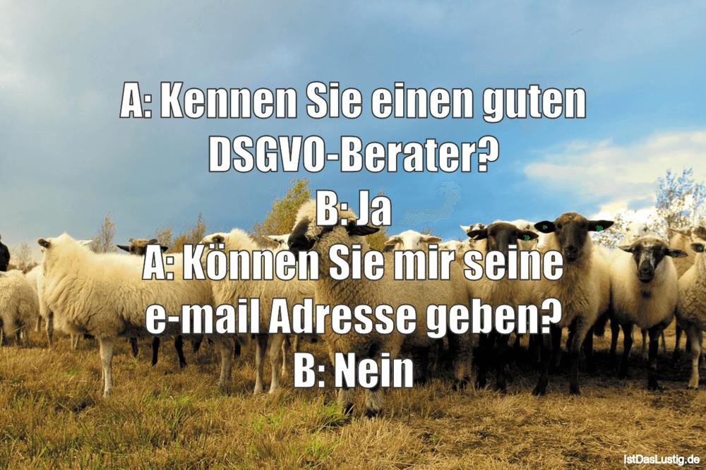 Lustiger BilderSpruch - A: Kennen Sie einen guten DSGVO-Berater? B: Ja ...