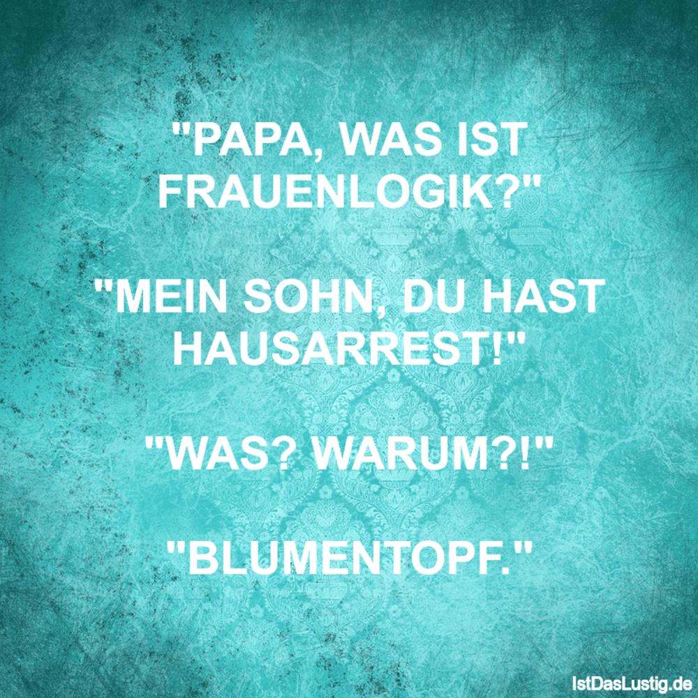 "Lustiger BilderSpruch - ""PAPA, WAS IST FRAUENLOGIK?""  ""MEIN SOHN, DU HA..."