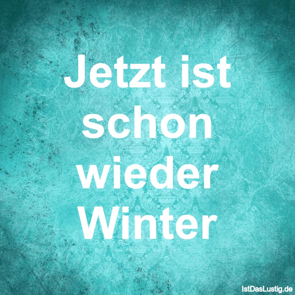 Lustiger BilderSpruch - Jetzt ist schon wieder Winter