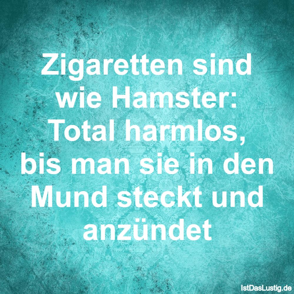 Lustiger BilderSpruch - Zigaretten sind wie Hamster: Total harmlos, bis...
