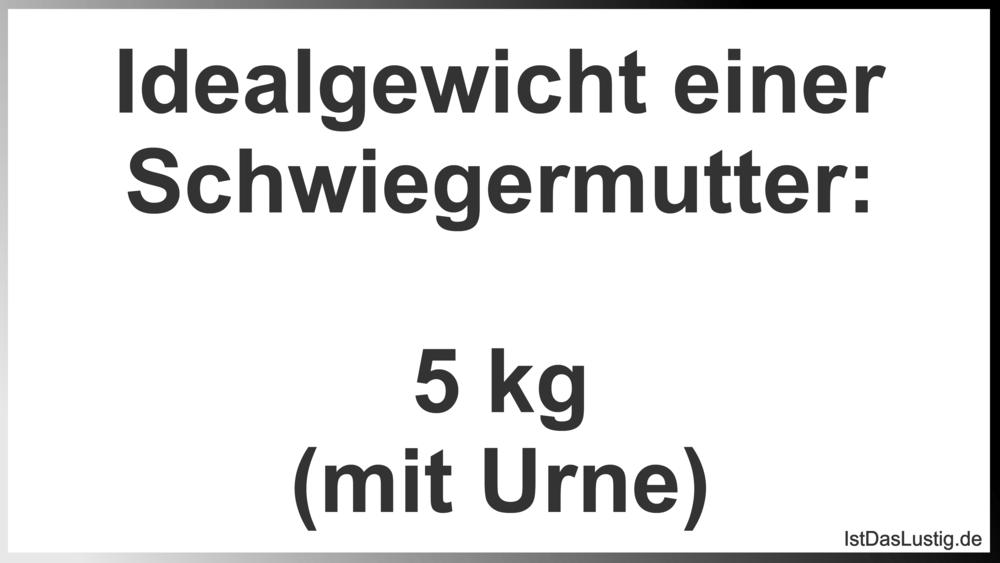 Lustiger BilderSpruch - Idealgewicht einer Schwiegermutter:  5 kg (mit ...