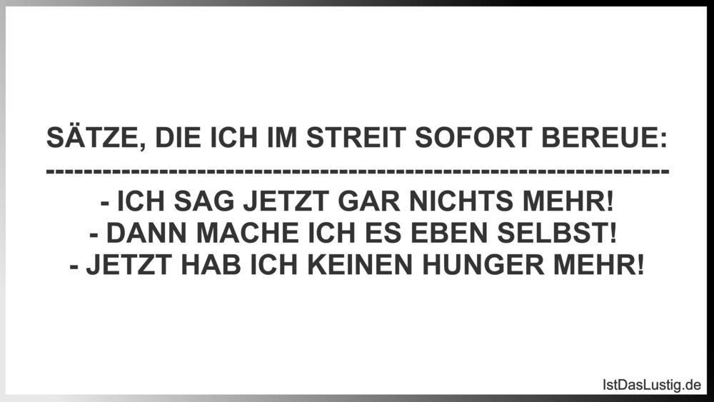 Lustiger BilderSpruch - SÄTZE, DIE ICH IM STREIT SOFORT BEREUE:...