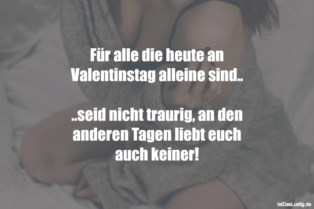 Lustiger BilderSpruch - Für alle die heute an Valentinstag alleine...