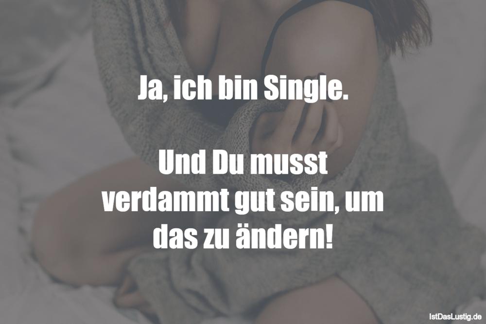 Ja, ich bin Single. Und Du musst verdammt gut